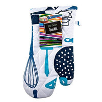 "Dairy Blue Oven Mitt – Pot Holder Glove – 100% Cotton – Hanging Loop for Easy Storage - 13"" x 6"" - Color Coded Kitchen Tools by The Kosher Cook"