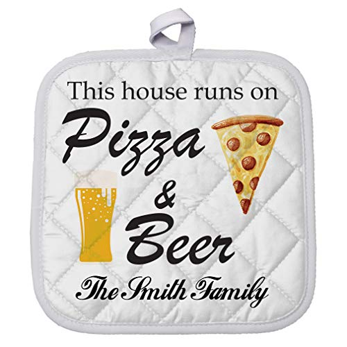 Personalized Custom Text Pizza and Beer Polyester Pot Holder Trivets