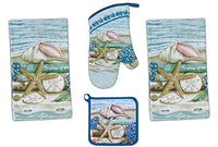 4 Piece Stories of the Sea Kitchen Set / Bundle - 2 Terry Towels, Oven Mitt, Potholder
