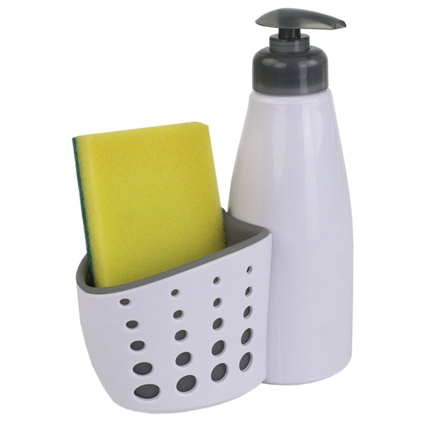 Home Basics SD41682 Perforated Sponge Holder, White Soap Dispenser, One Size,