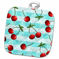 "3D Rose Print Juicy Red Cherries On Blue Check Pot Holder, 8"" x 8"","