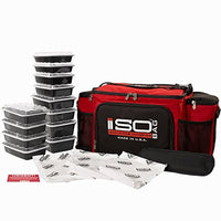 Isolator Fitness 6 Meal ISOBAG Meal Prep Management Insulated Lunch Bag Cooler with 12 Stackable Meal Prep Containers, 3 ISOBRICKS, and Shoulder Strap - Made in USA (Red/Black)