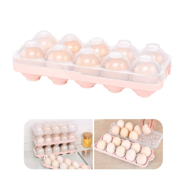 Egg Holder Kitchen Egg Tray, Clear Egg Storage Container Kitchen with Lid for Refrigerator Portable Egg Case Storage Bin for Fridge Camping, 10/20 Eggs Box Carrier (Blue)