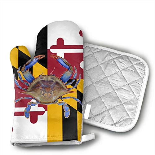 Maryland Blue Crab Oven Mitts and Pot Holders Set with Polyester Cotton Non-Slip Grip, Heat Resistant, Oven Gloves for BBQ Cooking Baking, Grilling