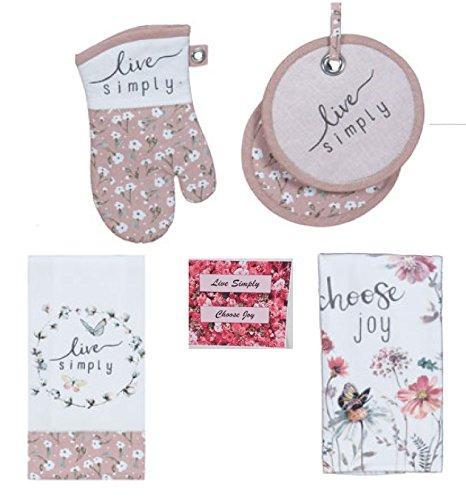 Live Simply Choose Joy Butterfly Floral 4 Piece Kitchen Set - 2 Terry Towels, Pot Holder and Oven Mitt with Bonus Magnet
