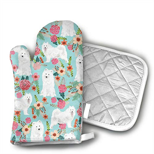 GUYDHL Unisex Oven Mitt and Pot Holder for Samoyed Dogs Floral Dog - 2 Pair