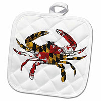 3D Rose Maryland Crab Flag. Pot Holder, 8 x 8