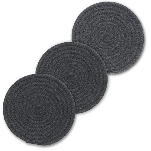 "Cpaoo Potholders Set, 100% Pure Cotton Thread Weave Hot Pot Holders Trivets Set (Set of 3) Stylish Coasters, Hot Pads, Hot Mats, Spoon Rest for Cooking and Baking by Diameter 7"", Dark Gray"