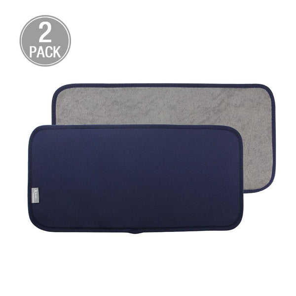 Y.VN 9 by 18-Inch Microfiber Dish Drying Mat -2 pack, Navy