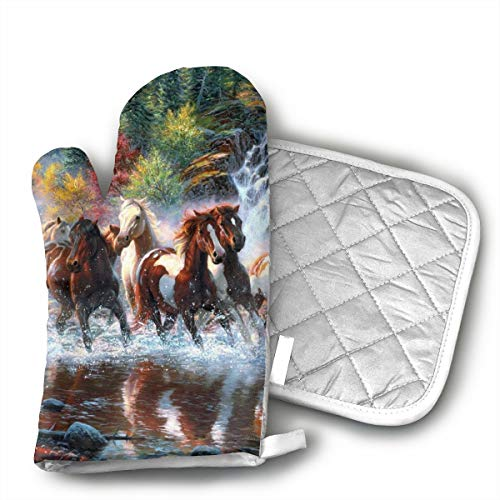 American Indians Horses Oven Mitts Kitchen Gloves and Pot Holders 2pcs for Kitchen Set with Cotton Neoprene Silicone Non-Slip Grip,Heat Resistant,Oven Gloves for BBQ Cooking Baking Grilling