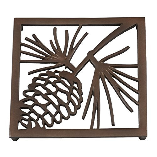 "DII Non-Slip Pinecone Trivet with Rubber Pegs/Feet, 8x8"" Set of 2, Vintage Decorative Hot Pad Pot Holder, Perfect for Kitchen and Dinning Table"