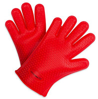 Internet's Best Silicone Oven Gloves | Heat Resistant Kitchen Oven Mitts | Insulated for Cooking Baking Grilling Barbecue Pot holder | Red