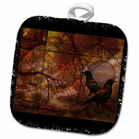 "3D Rose Dark Raven Crow Mysticism Fantasy Spirit World Pot Holder 8"" x 8"""