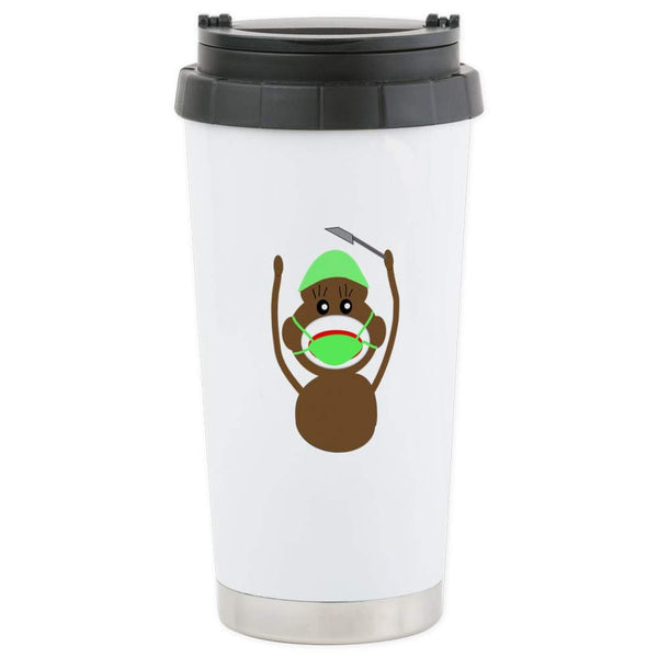 CafePress Sock Monkey Occupations Stainless Steel Travel Mug Stainless Steel Travel Mug, Insulated 16 oz. Coffee Tumbler