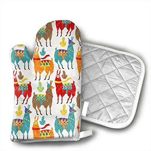 GUYDHL Unisex Oven Mitt and Pot Holder for Llamas-Colors - 2 Pair