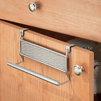 mDesign Over-the-Cabinet Kitchen Dish Towel Bar Holder - Metallic