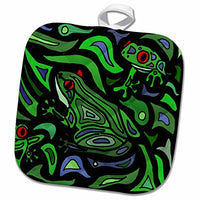 3D Rose Fun Frogs Art Abstract Original Pot Holder, 8 x 8