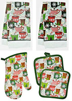 Christmas House Assorted Holiday Kitchen Linen Sets - 5 pc (Holiday Mugs)
