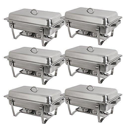 The best super deal 8 qt stainless steel 4 pack full size chafer dish w water pan food pan fuel holder and lid for buffet weddings parties banquets catering events 6