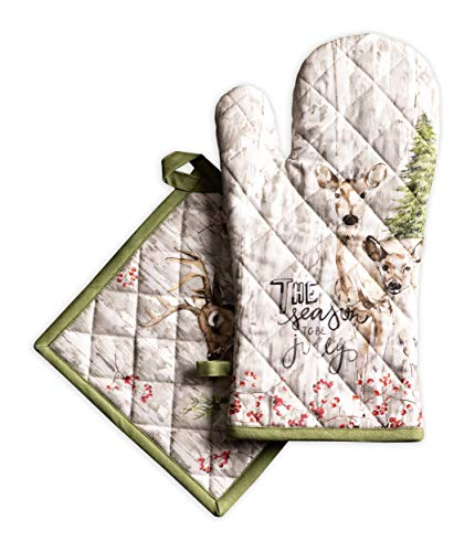 Maison d' Hermine Mountain Life 100% Cotton Set of Oven Mitt (7.5 Inch by 13 Inch) and Pot Holder (8 Inch by 8 Inch). Perfect for Thanksgiving and Christmas