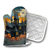 Klnsha7 Halloween Haunted Houses Oven Mitts Printing Cotton Lining, Kitchen Oven Gloves Pot Holder for Cooking, Barbecue Cooking Baking, Barbecue