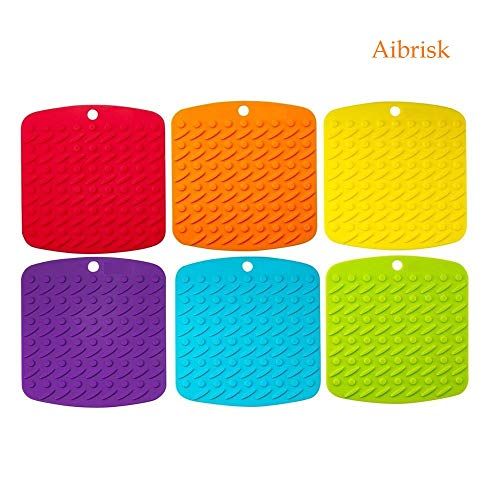 "Aibrisk Silicone Pot Holders - Silicone Trivets Mats for Hot Dishes Pot Holders Heat Resistant, Spoon Rest and Garlic Peeler Non Slip Multipurpose Kitchen Tool 7x7"" Potholders (Set of 6)"