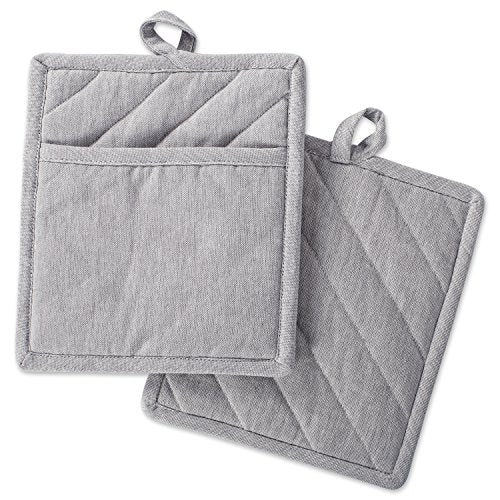 "DII Cotton Chambray Pot Holders with Pocket, 9x8"" Set of 2, Machine Washable and Heat Resistant Pocket Mitts for Kitchen Cooking and Baking-Gray"