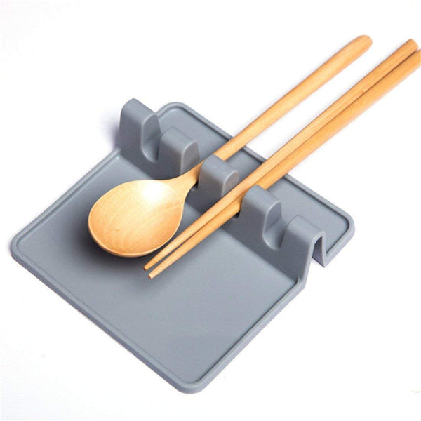 Kitchen Silicone Utensil Rest,Ladle Spoon holder Heat Resistant Ladle Fork Mat,Grey