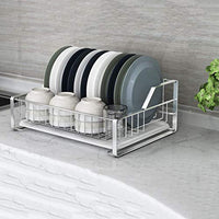 ZUOANCHEN Dish Drying Rack,Rustproof Stainless Steel Metal Wire Medium Dish Drainer Drying Rack,Kitchen Plate Cultery Cup Utensil Organizer Holder With Drip Tray, Plastic Drainer