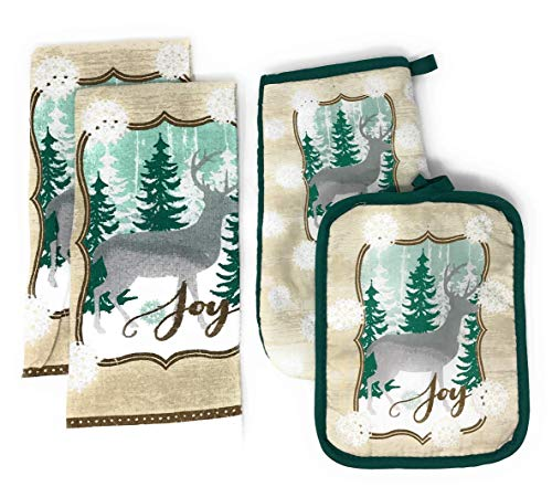 Northeast Home Goods Cotton Hand Dish Towels Oven Mitt Potholders, 4-Piece Set (Silver Reindeer)