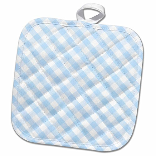 3D Rose Baby Blue and White Gingham Pattern - Diagonal Checks Rustic Checkered Retro Country Kitchen Dining Pot Holder 8 x 8,