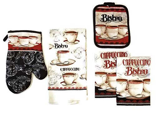 Bristo Cappuccino Coffee Linen 5 Piece Bundle Package Oven Mitt (1) Pot Holder (1) Kitchen Towel (1) Dish Cloths (2) (#4535)