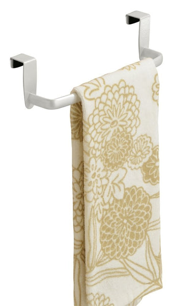 "mDesign Over the Cabinet Kitchen Dish Towel Bar Holder - 9"", Pearl White"