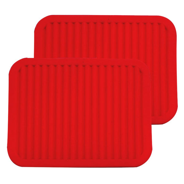 "ME.FAN 9"" x 12"" Big Silicone Trivets - Multi-purpose Silicone Pot Holders, Spoon Rest and Kitchen Table Mat - Insulated, Flexible, Durable, Non Slip Hot Pads and Coasters (2 Set) Red"