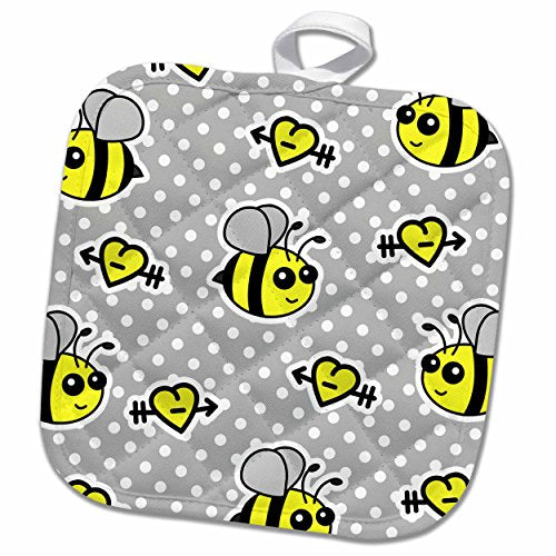 3dRose phl_57080_1 Pot Holder Cute Yellow Bumble Bee Print on Grey and White Polka Dots 8 by 8""