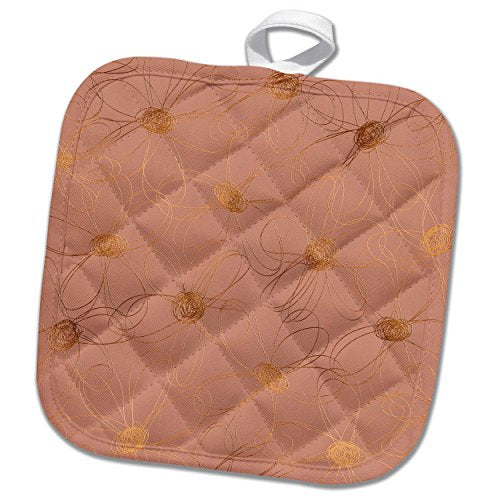3dRose phl_272881_1 Pot Holder Luxury Shiny Elegant Rose Gold Copper Damask Pattern 8 by 8""