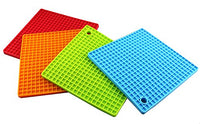 4PCS Multipurpose Silicone Drying Mat, Silicone Pot Holders, Trivets, Jar Openers, Non Slip Heat Resistant Hot Pads (Square)