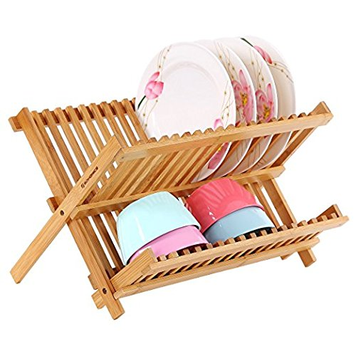 Zhisan Durable Wooden Dishrack/Dish Drying Holder/Versatile Plate Drainer Utensil