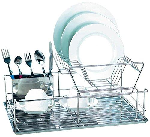 EuroWare Modern Stainless Steel 2 Tier Dish Drying Rack with Draining Board and Cutlery Tray, 18.5 Inches, Silver