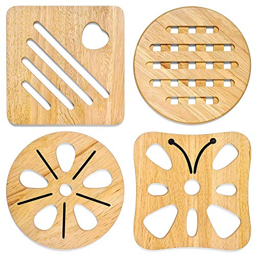KIHR GOODS Trivet Set For Hot Dishes. 4 Heat Resistant Wooden Pot And Pan Holders For Table And Countertop.