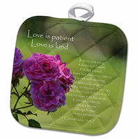 "3D Rose Pretty Pink Roses Love is Patient Bible Verse-Inspirational Pot Holder, 8"" x 8"""