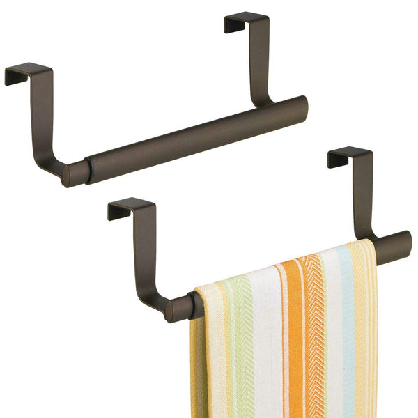 "mDesign Adjustable, Expandable Kitchen Over Cabinet Strong Steel Towel Bar - Hang on Inside or Outside of Doors, Storage for Hand, Dish, and Tea Towels - 9.25"" to 17"" Wide, 2 Pack - Bronze"