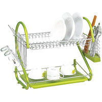 Dish Drying Rack - SODIAL(R) Stainless Steel 2 Tiers Kitchen Dish Cup Drying Rack Drainer (Color:green)