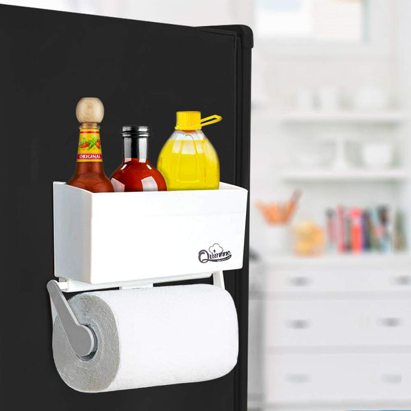 Magnetic Paper Towel Holder for Refrigerator with Storage Shelf, Kitchen Organizer Rack Fit Regular to Huge Paper Towel Roll with 4.4 lbs Capacity, Mounts Securely on Fridge and Metal Surfaces
