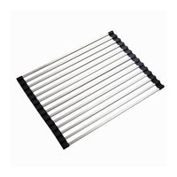 "LOHOME Rollable Dish Drying Rack - Heavy Duty Stainless Steel Over the Sink Dish Drying Rack, Rollable for Storage, Large Drainer, Non-Slip Edges (17""x13"")"