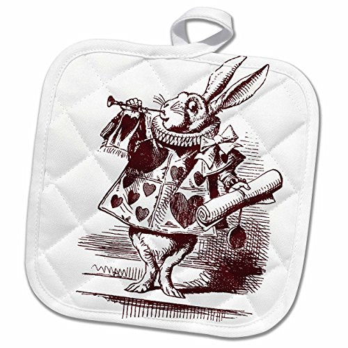 3D Rose White Rabbit from Alice in Wonderland Pot Holder, 8 x 8