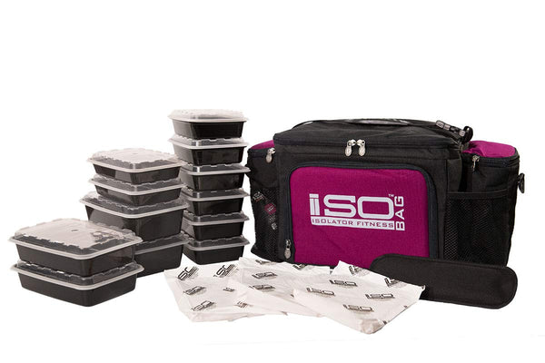Isolator Fitness 6 Meal ISOBAG Meal Prep Management Insulated Lunch Bag Cooler with 12 Stackable Meal Prep Containers, 3 ISOBRICKS, and Shoulder Strap - MADE IN USA (Black/Fuchsia Accent)