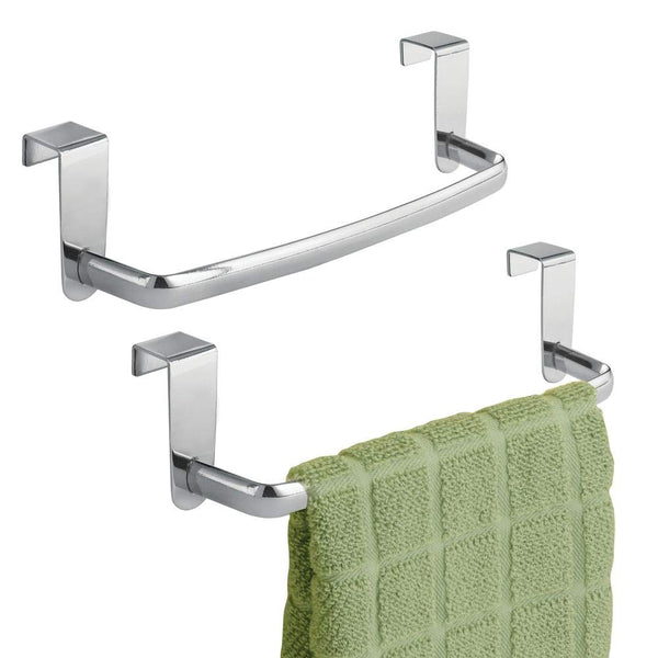 "mDesign Modern Kitchen Over Cabinet Strong Steel Towel Bar Rack - Hang on Inside or Outside of Doors - Storage and Organization for Hand, Dish, Tea Towels - 9.75"" Wide - 2 Pack - Chrome"
