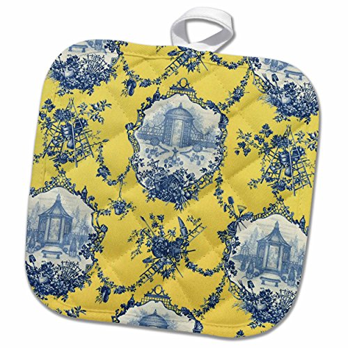 3D Rose Garden French Yellow and Blue. Popular Toile Print. Pot Holder 8 x 8
