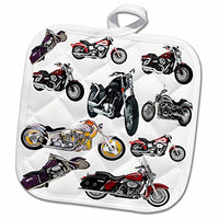 3D Rose Potholder Picturing Harley-Davidson174 Motorcycles Pot Holder